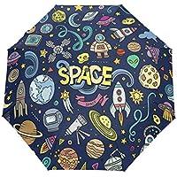 雨傘 折りたたみ傘 三つ折り傘 自動傘 自動開閉 ワンタッチ 落書き 宇宙 8本骨 撥水性 晴雨兼用 ファッション 耐風