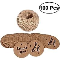 BESTOYARD 100枚 カード クラフト紙 小さい 感謝のカード 丸型 結婚式用 装飾