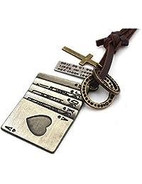 MFYS Jewelry トランプ柄 スペード, 合金 ファッション メンズ レディース ネックレス カラー:ブラウン; シルバー [ギフトボックスを提供]