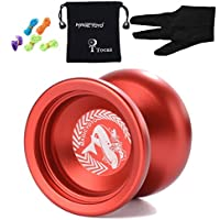 Tocas?つ? Magic YOYO N12 Aluminum Alloy Metal Professional Yo-yos Yo Yo with 1 Gloves And 5 Strings for Girls Boys Kids Birthday Gift Toy- Red by Tocas