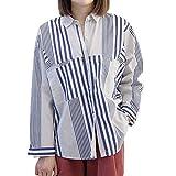 輝姫 ブラウス 縞模様 長袖 シャツ ゆったり ふんわり 清新 森ガール 少女 レディース おしゃれ ファッション (シングル, ブルー)