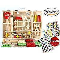 intellitoyz Kid 's木製CarpenterツールセットPlus 3シートのステッカー、教育Role Playおもちゃ