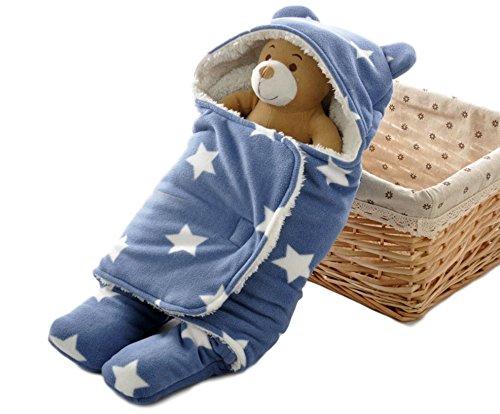 GJTr ベビー おくるみ ふわふわ クマさん 新生児 フリース 防寒 出産祝 ブルー 星 柄 A