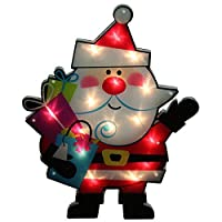 """Northlight Lighted Shimmering Santa Claus with Gifts Christmas Window Silhouette Decoration, 24"""" [並行輸入品]"""
