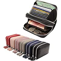 Genuine Leather RFID Blocking Double Zipper Credit Card Holder Security Travel Wallet Small Coin Purse