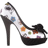 Show Story Sexy Bow Multicoloured Floral Polka Dot Platform Party Pumps,LF30476