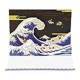 サンリオ クリスマスカード 和風 二つ折り ポップアップ 浮世絵風金線描き豆サンタ S7040