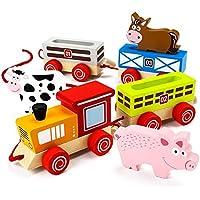 By-Imagination Generation トイプレイセット 木製 不思議なバーニヤードトレイン 幼児 女の子 子供用 プレイセット おもちゃ 7ピース