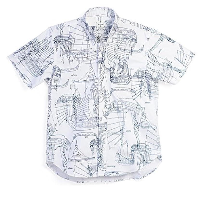 名前を作るせっかち好きMAJUN (マジュン) かりゆしウェア アロハシャツ かりゆし 結婚式 メンズ 半袖シャツ ボタンダウン シンコウセンOX オフホワイト 4