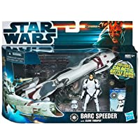 Star Wars Clone Wars Animated 2009 Figure and Vehicle BARC Speeder with Clone Trooper