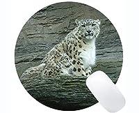 注文の元のヒョウシリーズ円形のマウスパッド、ステッチされた端が付いている雪のヒョウのヒョウの円形のマウスパッド