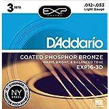 D'Addario ダダリオ アコースティックギター弦 EXPコーティング フォスファーブロンズ Light .012-.053 EXP16-3D 3set入りパック 【国内正規品】