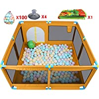 ボールとマットパッド付きのポータブルベビープレイペン子供の子供はペンルームを折ったデビッドオックスフォードクロス8サイドパネル、オレンジ (色 : 100 Balls)