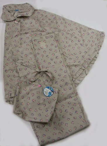 和装用 雨コート(二部式) レインケープ&巻きスカート 和洋兼用 (花柄)