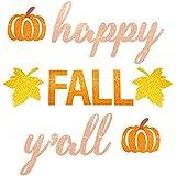 Happy Fall Y'all バナー グリッター 秋パーティー バンティング ガーランド 感謝祭 パンプキン パーティー デコレーション