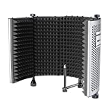 Neewer NW-5折り畳み式ボーカル録音パネル 調節可能 ポータブルでサウンド吸収でき アルミ製遮音マイクシールド 高密度フォームとノンスリップフィート付き スタンドマウント、デスクトップ使用に対応