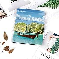 IPadケース スマートカバー アイパッドケース タブレットカバー アイパッド第四世代 第三世代 タイのマヤ湾での伝統的なロングテールボートアジアのエキゾチックな海の絵のイメージ