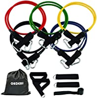 ohderii Resistance Band Set, with Door Anchor, 4 Foam Handles, Ankle Straps - Stackable Up to 100lbs - for Resistance...
