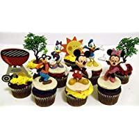 """MickeyマウスClubhouse 8Piece誕生日カップケーキトッパーセットfeaturing Mickeyマウス、ドナルド、Minnieマウス、Daisy Duck , and Goofy、テーマ装飾アクセサリー–Figures平均3"""" Tall"""