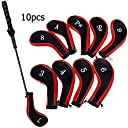 CLOYES 新しいデザイン ゴルフ アイアン カバー 素材 ファスナー タイプ 刺繍 ゴルフ クラブ アイアン カバー ヘッドカバー 10個/セット(赤い/ピンク)