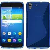 HUAWEI Y6 ケース TPU グリップ [ ファーウェイ 5インチ SIMフリースマートフォン 対応 ] Grip Design Cover Case 落下防止 ソフト軽量 フィットカバー【 Design S Blue(青)】…