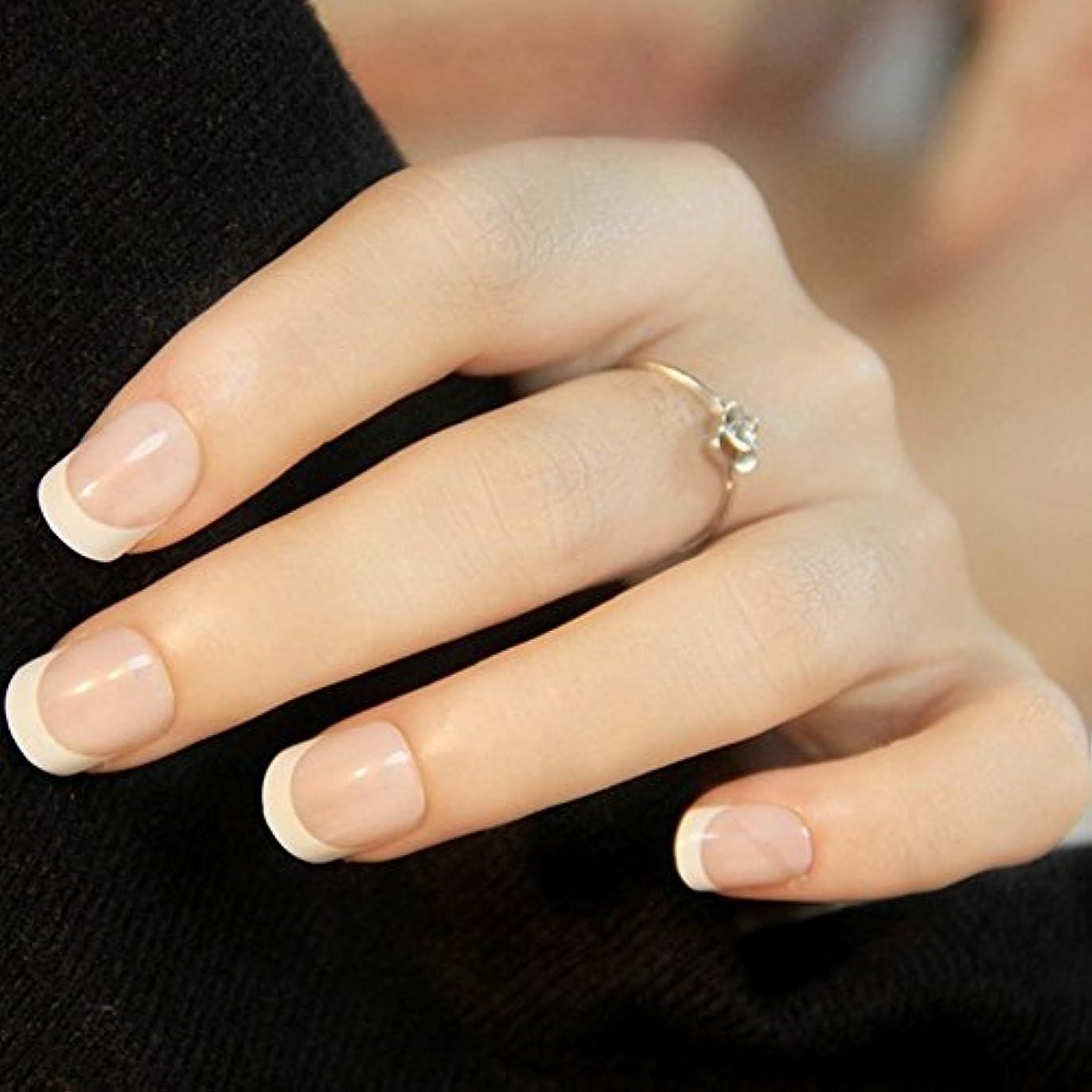 鰐すきオーク24PCSレディース女性DIYマニキュアアートのヒント爪付き爪(図示のように)