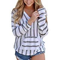 DaySeventh Women's Latest Stripe Loose Long Sleeve Jumper Casual Hoodie Top