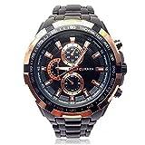 パイロットスタイルアナログウォッチ 立体的な高級感文字盤 防水 シンプル クオーツ ミリタリー メンズ 男性 金属 ベルト 腕時計 ブレスレット セット [Nexus] (ゴールド×ブラック)