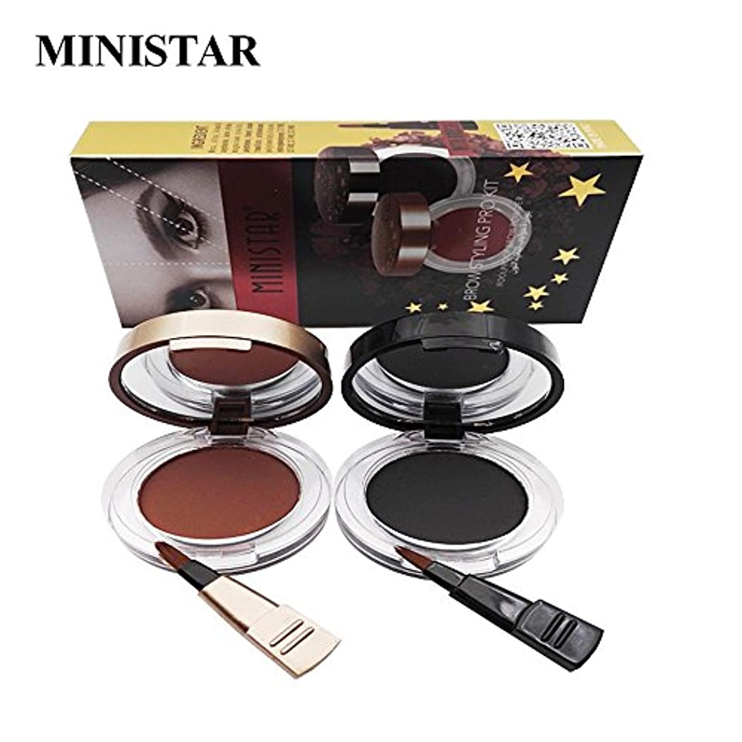 韓国語ミニチュア困惑2本/セット眉毛パウダーアイブロウ化粧品化粧シェーディングキットとブラシミラー