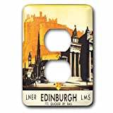 3drose LSP _ 169826_ 6Edinburgh Quicker byレール旅行ポスターwith Horse and Carriageライトスイッチカバー