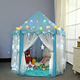 Dream Yo キッズプレイテント Kid Indoor Princess Castle Play Tent 子供 用 室内 テント 形が 可愛い キッズテント クリスマス プレゼント LED電球付き (3点セット, ブルー)