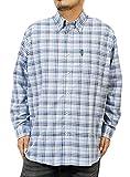 カンゴール(KANGOL) チェックシャツ メンズ 大きいサイズ オックスフォード ボタンダウン ギンガムチェック 長袖シャツ 4L サックス(64)