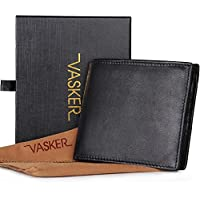 VASKER Genuine Leather RFID Blocking Wallets for Men Bifold with Coin Holder