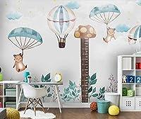 Mbwlkj 子供の寝室の漫画の動物の熱気球の壁紙3D壁画コンタクトペーパー3D写真の壁紙壁の装飾-350cmx245cm