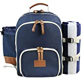 INNO STAGE Insulated Picnic Backpack for 4 Persons with Full Stainless Cutlery Set, Roomy Cooler Compartment, Bottle Holder and Large Waterproof Mat (Navy Blue)