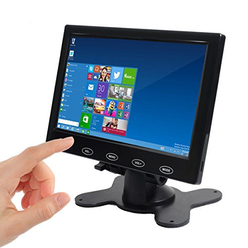 Toguard 7インチモニター、超薄高解像度1024×600ディスプレイ、AV/ VGA/ HDMI入力、携帯用のTFT LCD CCTVビデオディスプレイ、 タッチボタン、内蔵スピーカー、セキュリティ監視カム用