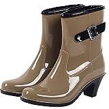 (ノーブランド品) レインシューズ レインブーツ 雨靴 長靴 レディース ブーツ ベルト ヒール バイカラー ジョッキーブーツ ショート丈 ショート