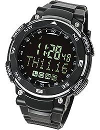 【ラドウェザー】スマートウォッチ SNS/着信/メール 通知機能 歩数計/活動量計/睡眠管理 遠隔カメラ操作 デジタル腕時計 メンズ時計