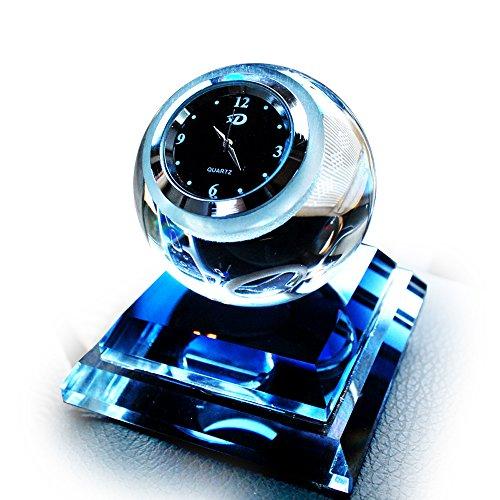 GREEM MARKET(グリームマーケット) クリスタルガラス ガラス製 香水瓶 芳香剤 プレゼント 男性 ギフト かっこいい おしゃれ 黒 青 車 車内 時計付 置き時計 GMS01259(ブルー)
