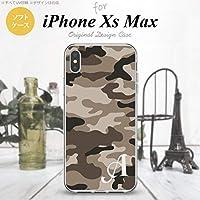 iPhone XS Max(アイフォーン XS Max) スマホケース カバー ソフトケース 迷彩A 茶B イニシャル対応 W nk-ixm-tp1156ini-w