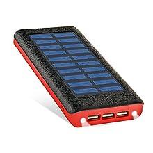 RuiPu ソーラーチャージャー モバイルバッテリー 24000mah大容量 電源充電可 QuickCharge急速充電対応 3USB出力ポート(2A+2A+1A) 二個LEDランプ搭載 太陽エネルギーパネル電池充電器 災害と外出に対応 (Red)