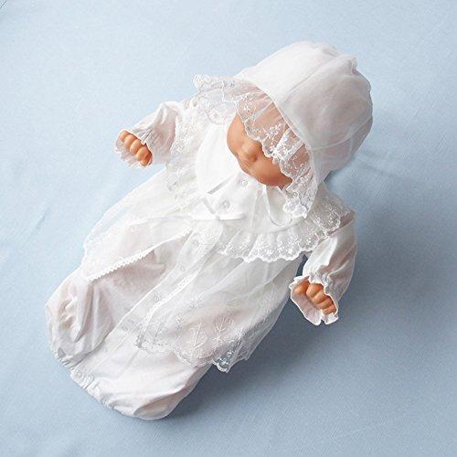 日本製 夏物素材 新生児 お宮参り用ベビーセレモニードレス 退院時にもおすすめ お帽子付き2点セット 65559