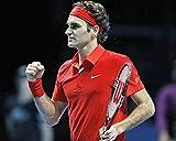 ナイキ テニス Roger Federer 16x 20キャンバスGiclee赤でNikeテニスシャツとヘッドバンド