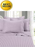 (Full/Queen Duvet Set, Lilac) - Elegant Comfort 1 Bed Duvet Cover Set on Amazon - Super Silky Soft - 1500 Thread Count Egyptian Quality Luxurious Wrinkle, Fade, Stain Resistant 3-Piece STRIPE Duvet Cover Set, Full/Queen, Lilac