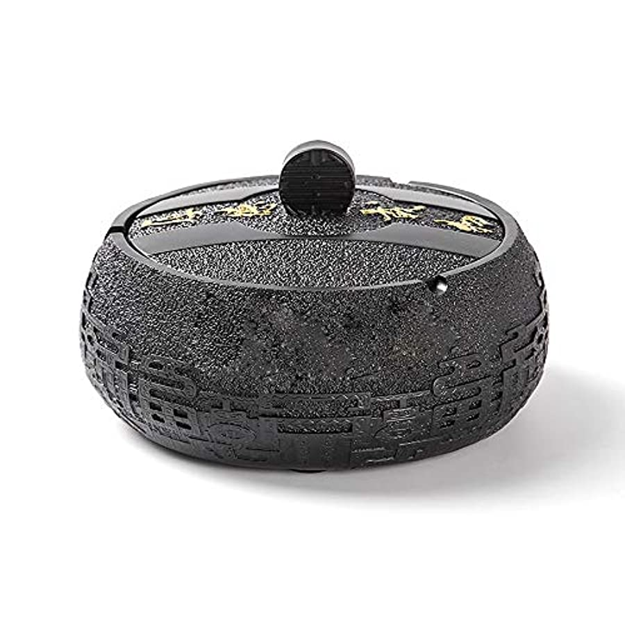 勝者置くためにパックヶ月目タバコ、ギフトおよび総本店の装飾のための円形の光沢のある環境に優しい樹脂の灰皿 (色 : 黒)