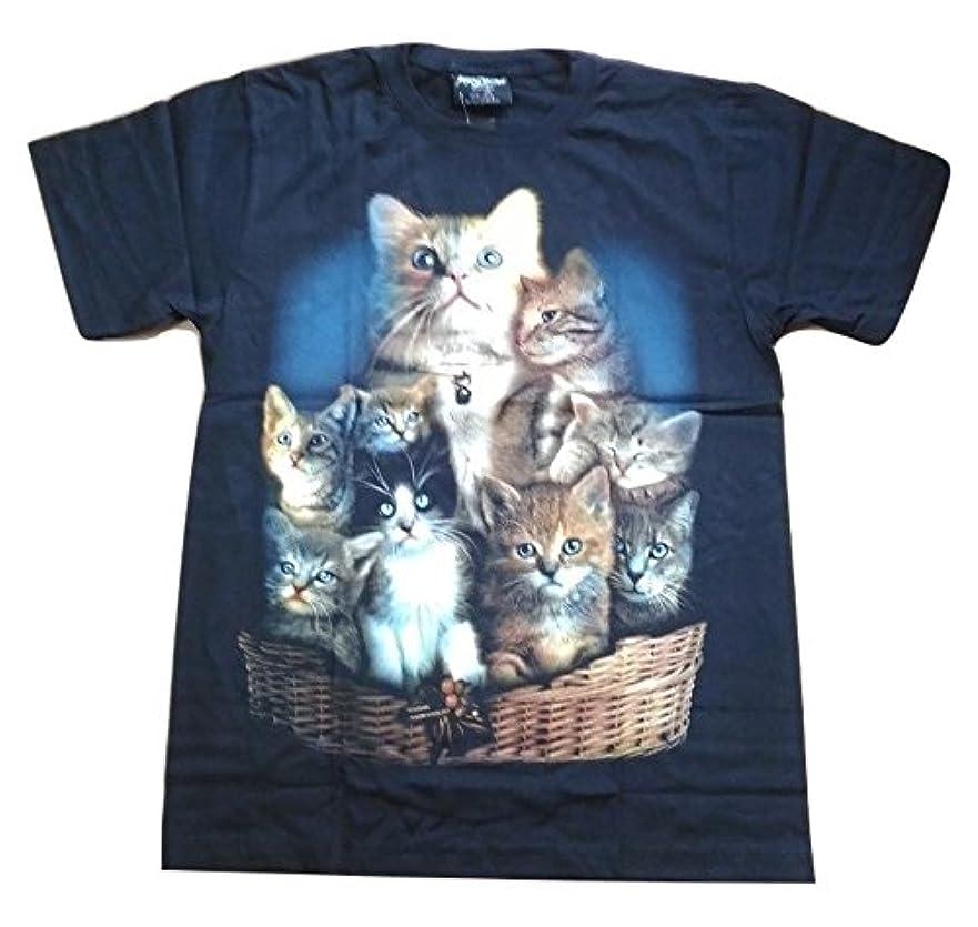 ポップ印象派解明する(シャシャン)XIAXIN 発光インク 使用でブラックライトで光ります ネコ CAT Tシャツ 猫 ペット ねこ JC-GR657BK