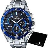 【セット】[カシオ] CASIO 腕時計 EDIFICE 100m防水 エディフィス クロノグラフ EFR-552D-1A2 メンズ &ROOSTER マイクロファイバークロス 15×15cm付き [並行輸入品]