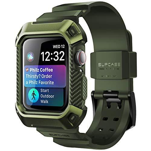 SUPCASE Apple Watch Series 4/5 44mm 保護ケース バンド 衝撃吸収 アップルウォッチ シリーズ 4 / 5 対応 カバー (深緑)