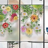 luckyLife 窓 めかくしシート 窓用フィルム ガラスフィルム 花柄 ひまわり 向日葵 遮光 断熱 結露防止 おしゃれ 装飾フィルム 目隠しフィルム 無接着剤 水で貼れる 静電吸着 再利用可能 カスタマイズ可能 40サイズ選択 80x160cm