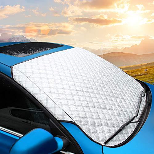 MATCC カーフロントカバー フロントガラス 207*102cm 雪対策 凍結防止カバー 凍結防止シート 車用サンシェ...